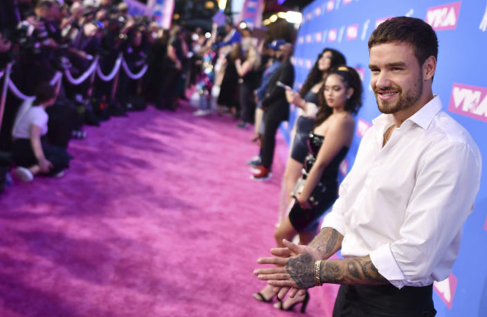 FILE - Liam Payne arrives at the MTV Video Music Awards on Aug. 20, 2018, in New York. Payne turns 27 on Aug. 29. (Photo by Charles Sykes/Invision/AP, File)