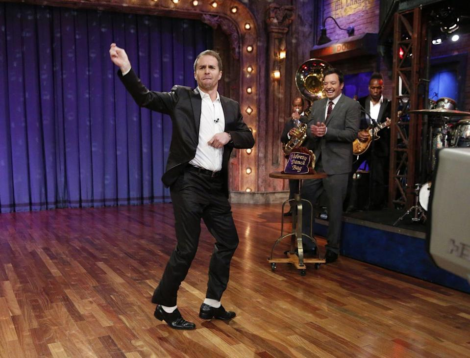 """<p>Sam Rockwell isn't a professional dancer, but that doesn't mean he can't move. The Oscar-winning actor learned to breakdance growing up in San Francisco. </p><p>""""I used to do really bad break dancing, when 'Thriller' and 'Purple Rain' came out,"""" <a href=""""https://www.nytimes.com/2018/02/25/movies/sam-rockwell-interview-three-billboards-outside-ebbing-missouri.html"""" rel=""""nofollow noopener"""" target=""""_blank"""" data-ylk=""""slk:Sam told The New York Times"""" class=""""link rapid-noclick-resp"""">Sam told <em>The New York Times</em></a>. """"Probably my biggest inspiration was James Brown, and watching Tom Cruise in <em>Risky Business</em>. I remember practicing that, and watching James Brown do the splits."""" It has <a href=""""https://youtu.be/SB7Vb2_QpA0"""" rel=""""nofollow noopener"""" target=""""_blank"""" data-ylk=""""slk:definitely come in handy"""" class=""""link rapid-noclick-resp"""">definitely come in handy</a> in some of his roles.</p>"""