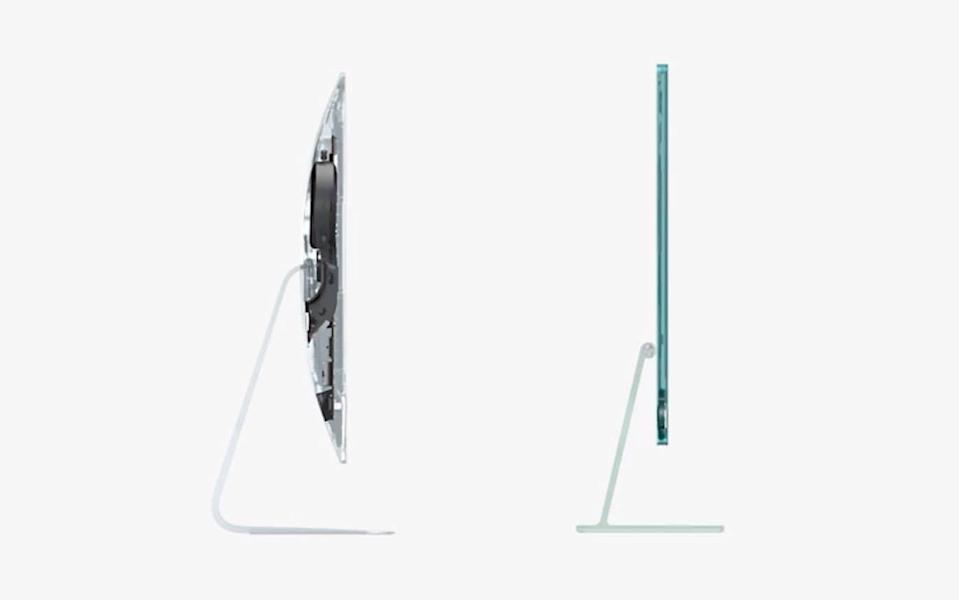 The last monitor in the previous image is compared with an ultra-thin new iMac - Apple