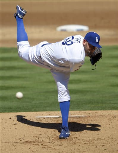 Los Angeles Dodgers starter Stephen Fife throws during the second inning of a baseball game against the St. Louis Cardinals, Sunday, Sept. 16, 2012, in Los Angeles. (AP Photo/Mark J. Terrill)