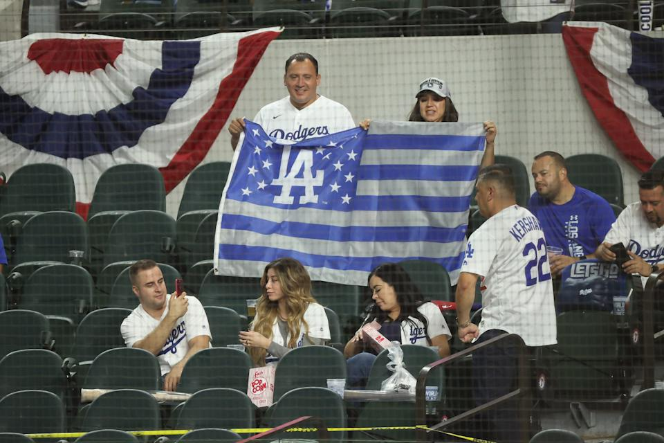 Game 2: Dodgers fans in the stands.