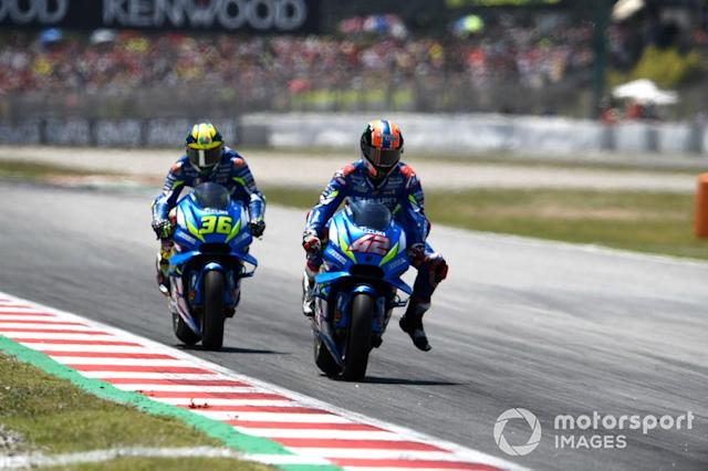 "Suzuki 2019: Alex Rins, Joan Mir <span class=""copyright"">Gold and Goose / LAT Images</span>"