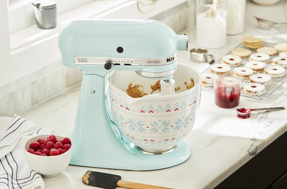 <p>If they already have a KitchenAid mixer, get them this cute <span>KitchenAid 5 Quart Holiday Sweater Ceramic Bowl</span> ($85) to go with it.</p>