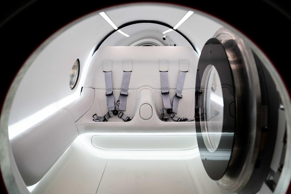 "Interior shot of Virgin Hyperloop's XP-2 ""Pegasus Pod"" interior in anticipation of the first crewed Hyperloop test."