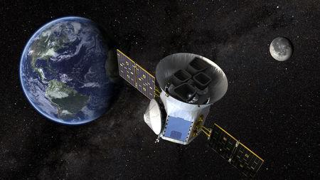 TESS, the Transiting Exoplanet Survey Satellite, is shown in this conceptual illustration obtained by Reuters on March 28, 2018.  NASA plans to send TESS into orbit from the Kennedy Space Center in Florida aboard a SpaceX Falcon 9 rocket set for blastoff sometime between April 16 and June on a two-year mission.    NASA's Goddard Space Flight Center/Handout via REUTERS