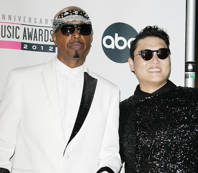 MC Hammer and Psy he 40th Anniversary American Music Awards 2012, held at Nokia Theatre L.A. Live - Pressroom Los Angeles, California - 18.11.12 Mandatory Credit: Adriana M. Barraza/WENN.com