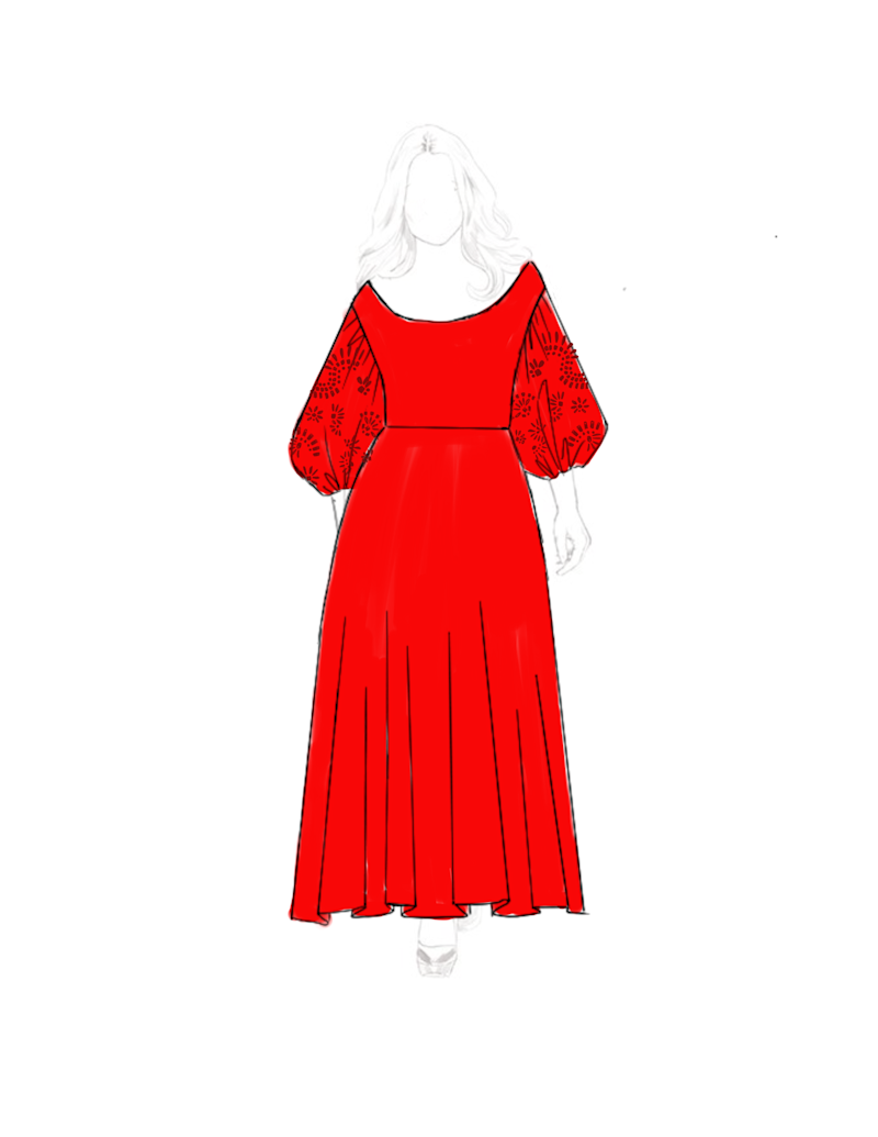 A sketch of Metz's Tanya Taylor gown for the 2019 Golden Globes.