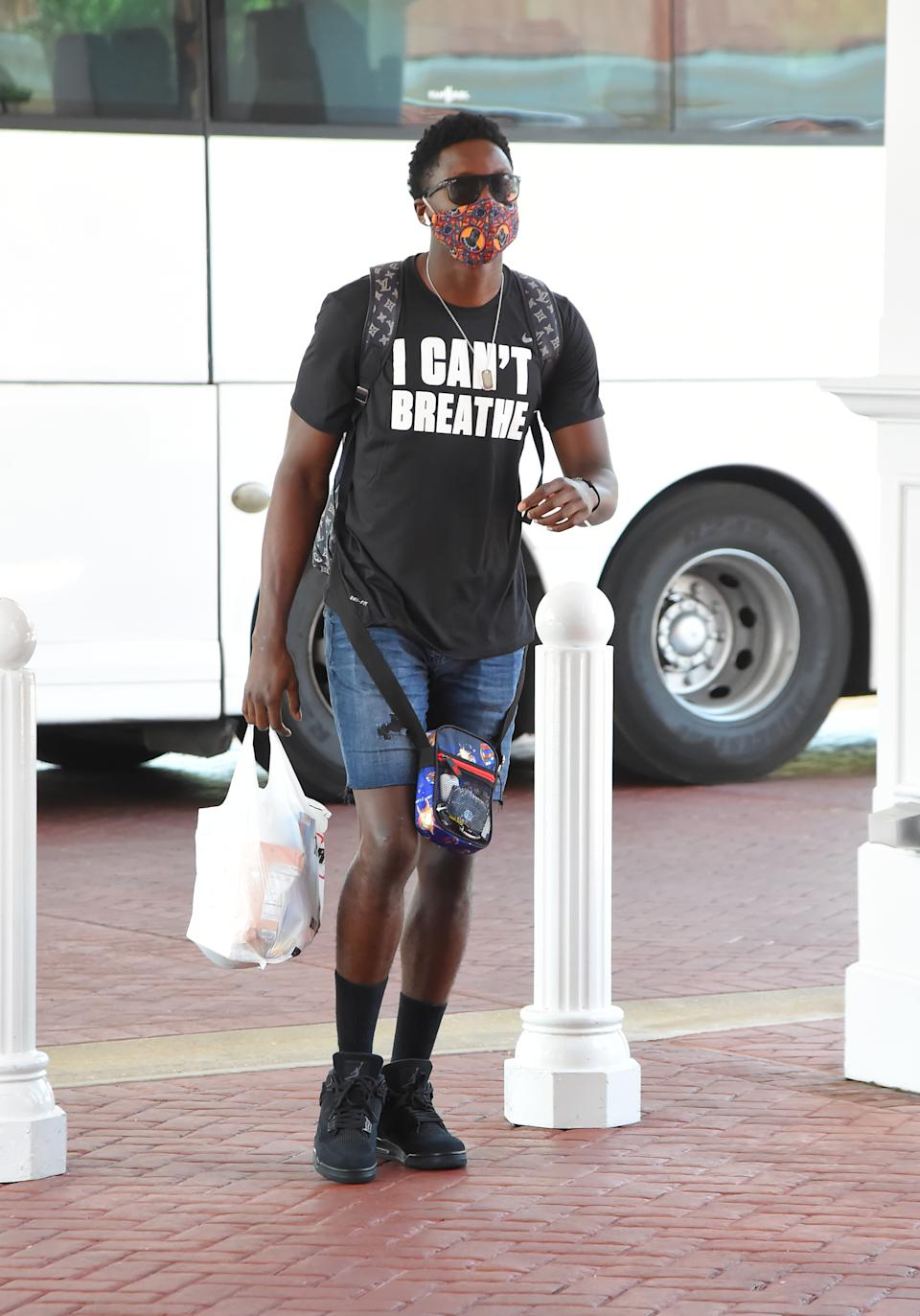 Victor Oladipo #4 of the Indiana Pacers arrives at the hotel as part of the NBA Restart 2020 on July 9, 2020 in Orlando, Florida. (Photo by Bill Baptist/NBAE via Getty Images)