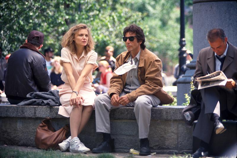 Actress Michelle Pfeiffer and Al Pacino on set of their film Frankie and Johnny. (Photo by Time Life Pictures/DMI/The LIFE Picture Collection via Getty Images)