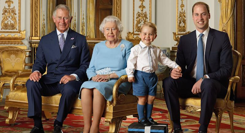 Prince Charles, Queen Elizabeth, Prince William and Prince George pose together in the palace