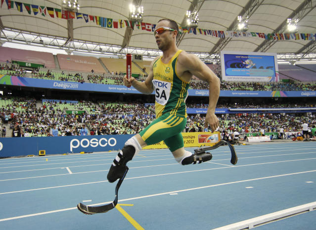 FILE - In this Sept. 1, 2011 file photo, South Africa's Oscar Pistorius competes in a qualification round for the Men's 4x400m relay at the World Athletics Championships in Daegu, South Korea. Double amputee Oscar Pistorius has been selected for South Africa's Olympic 4x400 relay team. (AP Photo/Matt Dunham, File)