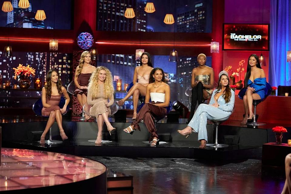 "From Matt James' Season 25 ""Bachelor: Women Tell All"" special airing March 1, 2021, on ABC (L-R): Serena P., Ann, JM, Mari, Pieper, Chelsea and Serena C."