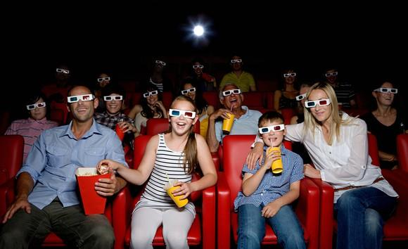 Fans watching a 3D movie.