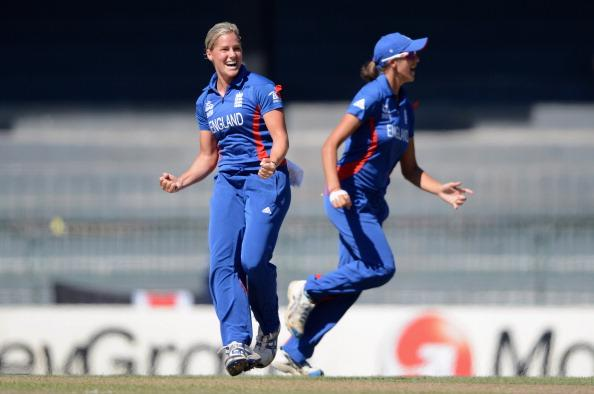 COLOMBO, SRI LANKA - OCTOBER 04:  Katherine Brunt of England celebrates after Suzie Bates of New Zealand is run out during the ICC Women's World Twenty20 2012 Semi Final between England and New Zealand at R. Premadasa Stadium on October 4, 2012 in Colombo, Sri Lanka.  (Photo by Gareth Copley/Getty Images)