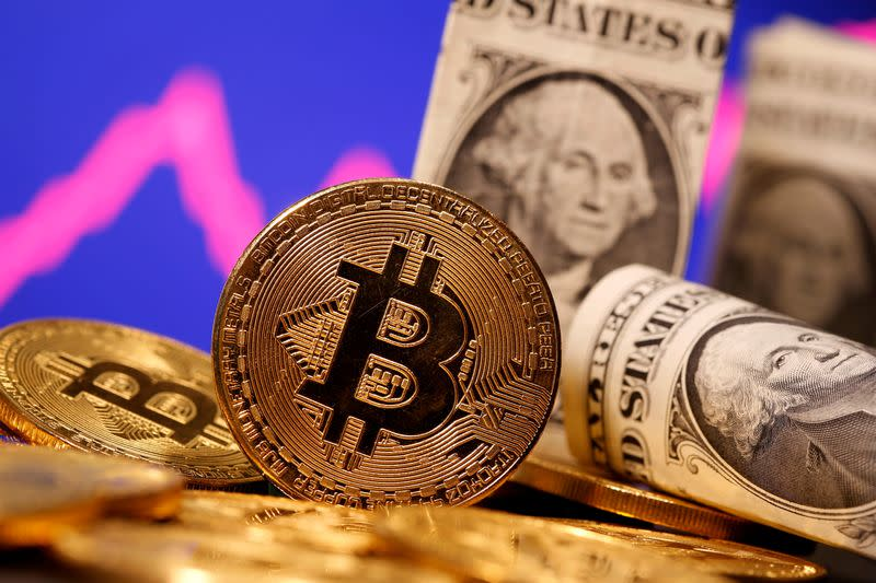 FILE PHOTO: A representation of virtual currency Bitcoin and U.S. One Dollar banknotes are seen in front of a stock graph in this illustration