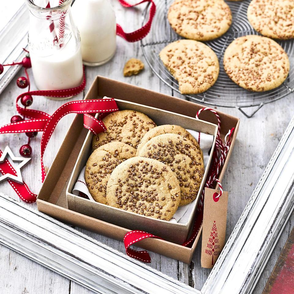 """<p>These delicious eggnog flavoured cookies are the perfect festive treat and taste just like the custardy, nutmeg Christmas cocktail but without the booze! </p><p><strong>Recipe: <a href=""""https://www.goodhousekeeping.com/uk/food/recipes/a29697627/eggnog-cookies/"""" rel=""""nofollow noopener"""" target=""""_blank"""" data-ylk=""""slk:Eggnog Cookie Recipe"""" class=""""link rapid-noclick-resp"""">Eggnog Cookie Recipe </a></strong></p>"""