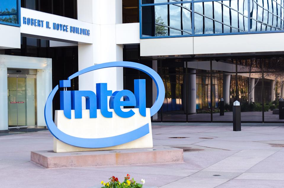 Santa Clara, USA - March 26, 2012: intel headquarters in mission college blvd of santa clara. Intel is the top chip maker who provide cpus for all kinds of computers.