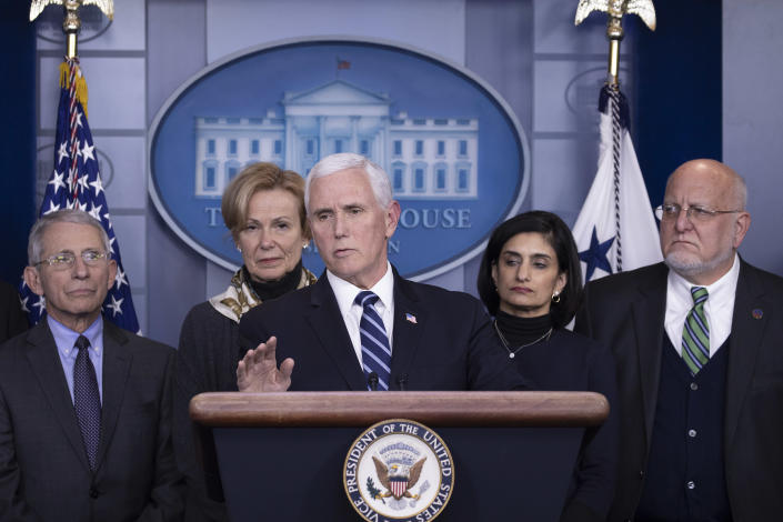 Vice President Mike Pence speaking at a press briefing in March. (Tasos Katopodis/Getty Images)