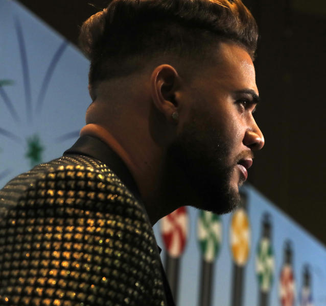 Yoan Moncada speaks with reporters during the SoxFest Chicago White Sox baseball fan convention Friday, Jan. 24, 2020, in Chicago. (Patrick Kunzer/Daily Herald via AP)