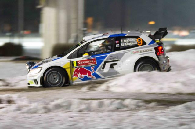 Norway's Andreas Mikkelsen drives his Volkswagen Polo R WRC during the Rally Sweden 2014, in Hagfors February 5, 2014. REUTERS/Micke Fransson/TT News Agency (SWEDEN - Tags: SPORT MOTORSPORT) FOR EDITORIAL USE ONLY. NOT FOR SALE FOR MARKETING OR ADVERTISING CAMPAIGNS. THIS IMAGE HAS BEEN SUPPLIED BY A THIRD PARTY. IT IS DISTRIBUTED, EXACTLY AS RECEIVED BY REUTERS, AS A SERVICE TO CLIENTS. SWEDEN OUT. NO COMMERCIAL OR EDITORIAL SALES IN SWEDEN. NO COMMERCIAL SALES