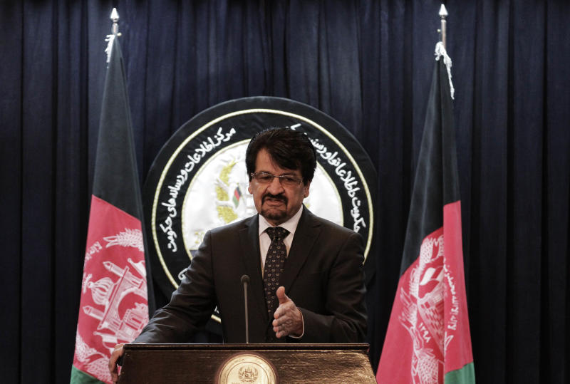 Afghan defense ministry spokesman General Zahir Azimi gestures during a press conference in Kabul, Afghanistan, Wednesday, March 20, 2013. The U.S. military and the Afghan government reached a deal Wednesday on the pullout of American special operations forces and their Afghan counterparts from a contentious eastern province. President Hamid Karzai has blamed the troops for egregious human rights abuses in Wardak province, allegations that U.S. military officials have steadfastly denied. (AP Photo/Ahmad Jamshid)