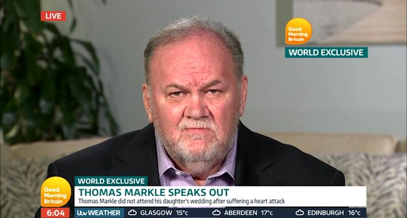 Thomas Markle gave his first tell-all interview to Good Morning Britain in 2018. Photo: Good Morning Britain/ITV.