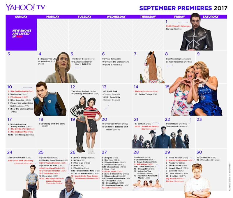 Your calendar of Fall TV season and series premiere dates