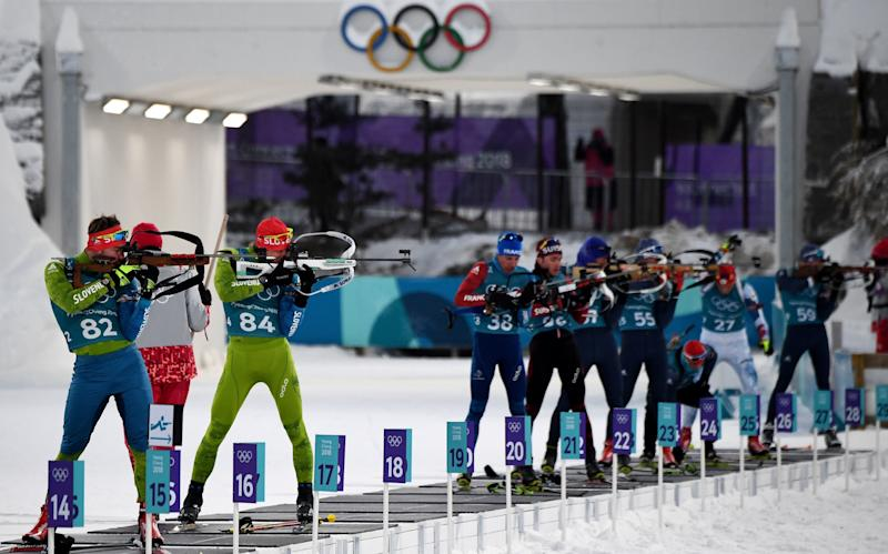 Biathletes at a practice session in Pyeonchang.  (FRANCK FIFE via Getty Images)
