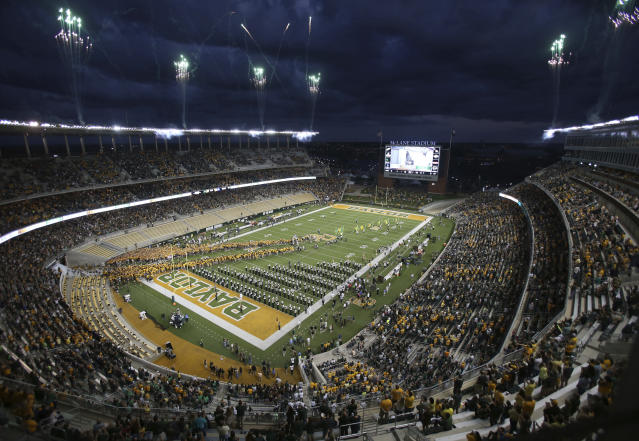 Baylor takes the field in McLane Stadium against West Virginia in an NCAA college football game, Saturday, Oct. 21, 2017, in Waco, Texas. (AP Photo/Jerry Larson)