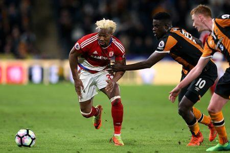 Britain Soccer Football - Hull City v Middlesbrough - Premier League - The Kingston Communications Stadium - 5/4/17 Middlesbrough's Adama Traore in action with Hull City's Alfred N'Diaye Reuters / Scott Heppell Livepic