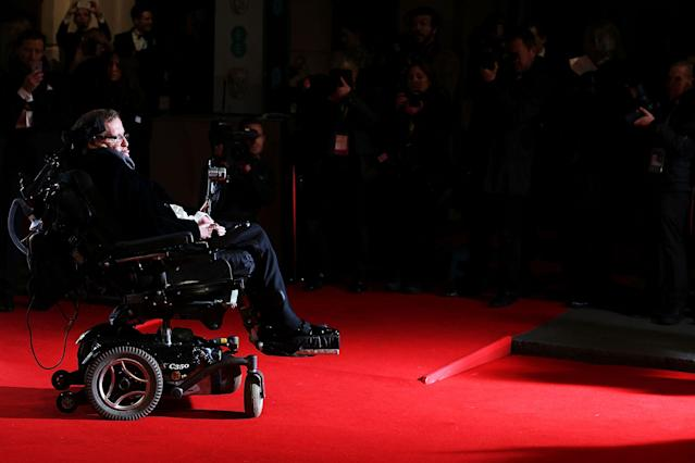 <p>Stephen Hawking attends the EE British Academy Film Awards at The Royal Opera House on Feb. 8, 2015 in London, Britain. (Photo: Mike Marsland/WireImage/Getty Images) </p>