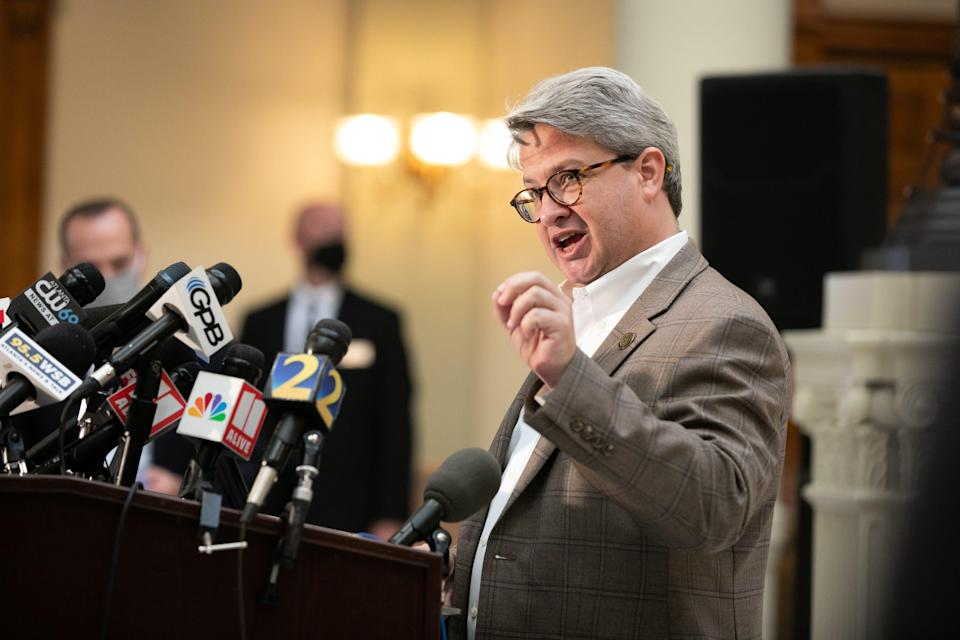 Gabriel Sterling speaks at a press conference Friday.