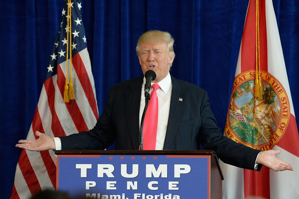 Republican presidential candidate Donald Trump holds a press conference at Trump National Doral on July 27, 2016 in Doral, Florida. Trump spoke about the Democratic Convention and called on Russia to find Hillary Clinton's deleted e-mails.  (Photo by Gustavo Caballero/Getty Images)
