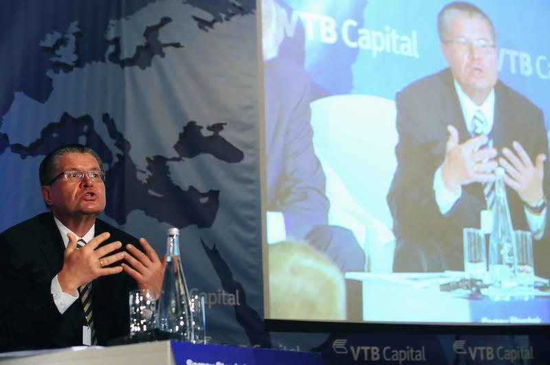Ulyukaev, First Chairman of the Central Bank of Russia, speaks during a panel discussion at the VTB Capital investment conference