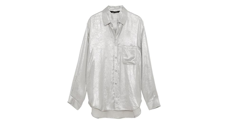 """<p>Want something to throw on that will instantly give your blue jeans outfit the wow-factor? This silver, metallic shirt by Zara. <br><a rel=""""nofollow noopener"""" href=""""https://www.zara.com/uk/en/metallic-shirt-p03440246.html?v1=6682695&v2=1074660"""" target=""""_blank"""" data-ylk=""""slk:Buy here."""" class=""""link rapid-noclick-resp"""">Buy here. </a> </p>"""
