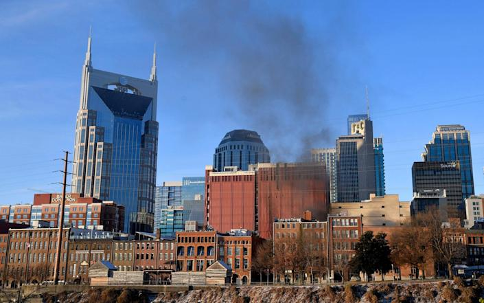 Smoke billows from the site of an explosion in the area of Second and Commerce in Nashville - Andrew Nelles/Tennessean.com/USA TODAY NETWORK via REUTERS