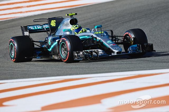 """Valentino Rossi, Mercedes-AMG F1 W08 <span class=""""copyright"""">Monster Energy</span>"""