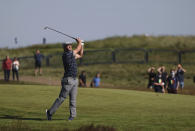 United States' Bryson DeChambeau plays a shot from the 1st fairway during the first round British Open Golf Championship at Royal St George's golf course Sandwich, England, Thursday, July 15, 2021. (AP Photo/Ian Walton)