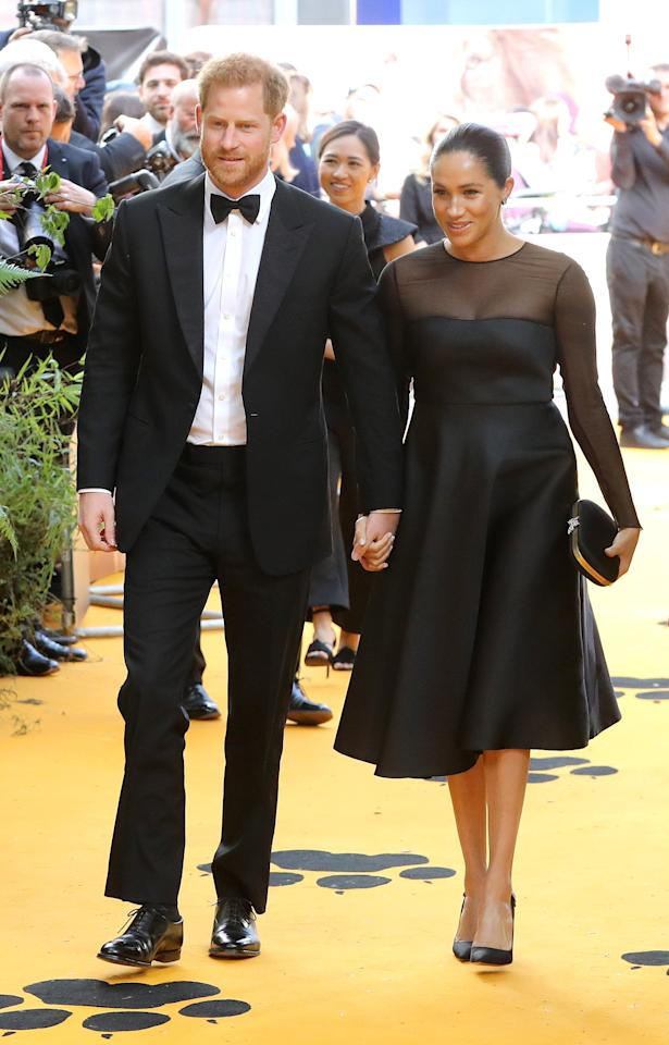 """Meghan Markle and Prince Harry <a href=""""https://people.com/royals/meghan-markle-prince-harry-date-night-lion-king-premiere-new-parents/"""" target=""""_blank"""">stepped out for a date night to attend the London premiere of <em>The Lion King</em></a><em>.</em> Meghan wore a gorgeous black fit-and-flare dress with long-sleeve sheer paneling, black slingback pumps and a matching black clutch.  <strong>Get the Look!</strong>  Romwe Women's High Waist Tulle Puff Sleeve Swing Hem Cocktail Party Short Dress, $9.99; <a href=""""https://www.amazon.com/ROMWE-Womens-Waist-Sleeve-Cocktial/dp/B07NWLP4LB/ref=as_li_ss_tl?keywords=black+long+sleeve+dress+with+sheer+sleeves&qid=1563387060&s=gateway&sr=8-131&linkCode=ll1&tag=poamzfmeghanmarklesummerstyle2019kphillips0719-20&linkId=714ca0dd1fcc8de1acaac9bbee835459&language=en_US"""" target=""""_blank"""">amazon.com</a>  Morgan Lace Trim Velvet Mini Prom Dress in Black, $65 (orig. $130); <a href=""""https://click.linksynergy.com/deeplink?id=93xLBvPhAeE&mid=35719&murl=https%3A%2F%2Fus.asos.com%2Fmorgan%2Fmorgan-lace-trim-velvet-mini-prom-dress-in-black%2Fprd%2F10533112&u1=PEO%2CShopping%3AEverythingYouNeedtoCopyMeghanMarkle%27sChicSummerStyle%2Ckamiphillips2%2CUnc%2CGal%2C6939680%2C201907%2CI"""" target=""""_blank"""" rel=""""nofollow"""">asos.com</a>  Nanette Nanette Lepore Velvet-Trimmed Lace Dress, $126.40 (orig. $158); <a href=""""https://click.linksynergy.com/deeplink?id=93xLBvPhAeE&mid=13867&murl=https%3A%2F%2Fwww.bloomingdales.com%2Fshop%2Fproduct%2Fnanette-nanette-lepore-velvet-trimmed-lace-dress%3FID%3D3121241&u1=PEO%2CShopping%3AEverythingYouNeedtoCopyMeghanMarkle%27sChicSummerStyle%2Ckamiphillips2%2CUnc%2CGal%2C6939680%2C201907%2CI"""" target=""""_blank"""" rel=""""nofollow"""">bloomingdales.com</a>  Gal Meets Glam Collection Celeste Fit & Flare Dress, $148; <a href=""""https://click.linksynergy.com/deeplink?id=93xLBvPhAeE&mid=1237&murl=https%3A%2F%2Fshop.nordstrom.com%2Fs%2Fgal-meets-glam-collection-celeste-fit-flare-dress%2F5064986&u1=PEO%2CShopping%3AEverythingYouNeedtoCopyMeghanM"""