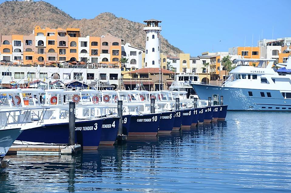 """Tenders at Cabo San Lucas wait to carry cruise passengers between ship and shore in 2015. U.S.-Mexico cruises are on hold through at least Sept. 30. <span class=""""copyright"""">(Christopher Reynolds/Los Angeles Times)</span>"""