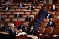 Covid safety protocols meant that not all members of the US Congress were present for President Joe Biden's speech