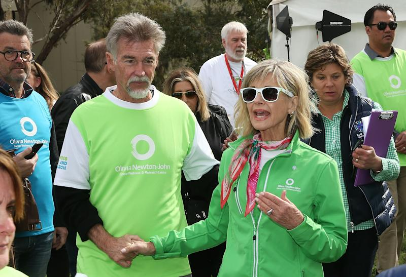 Olivia Newton-John and her husband John Easterling look on during the annual Wellness Walk and Research Runon September 16, 2018 in Melbourne, Australia.
