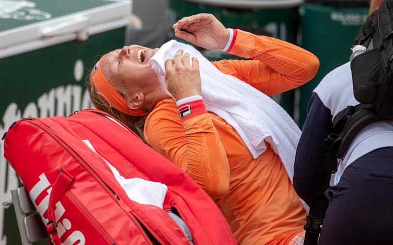 Kiki Bertens getting treatment - Getty
