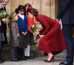 LONDON, ENGLAND - MARCH 09: Catherine, Duchess of Cambridge departs after attending the Commonwealth Day Service 2020 at Westminster Abbey on March 09, 2020 in London, England. (Photo by Karwai Tang/WireImage)
