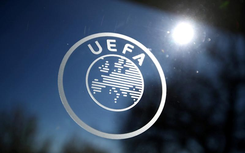 General view of the UEFA logo at UEFA Headquarters before the draw - Reuters