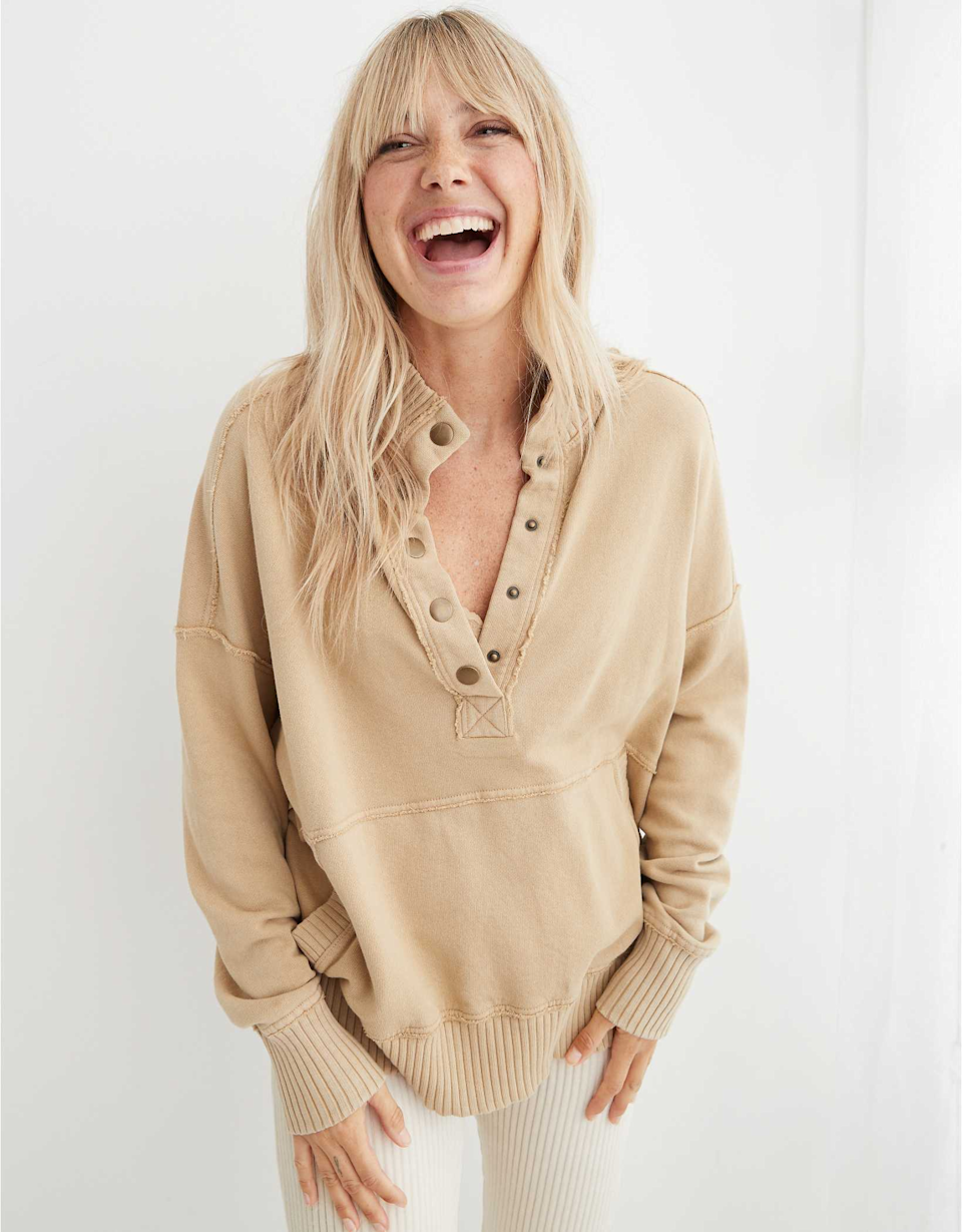 """<br><br><strong>Aerie</strong> Aerie Oh Snap! Weekend Henley Mockneck Sweatshirt, $, available at <a href=""""https://go.skimresources.com/?id=30283X879131&url=https%3A%2F%2Fwww.ae.com%2Fus%2Fen%2Fp%2Faerie%2Ftops%2Fhoodies-sweatshirts%2Faerie-oh-snap-weekend-henley-mockneck-sweatshirt%2F0743_2570_216"""" rel=""""nofollow noopener"""" target=""""_blank"""" data-ylk=""""slk:Aerie"""" class=""""link rapid-noclick-resp"""">Aerie</a>"""