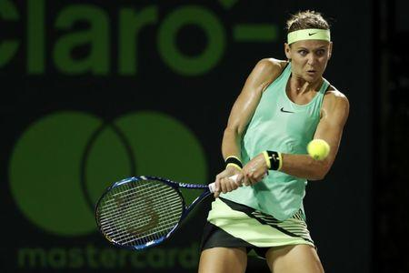 Mar 28, 2017; Miami, FL, USA; Lucie Safarova of the Czech Republic hits a backhand against Caroline Wozniacki of Denmark (not pictured) on day eight of the 2017 Miami Open at Crandon Park Tennis Center. Mandatory Credit: Geoff Burke-USA TODAY Sports