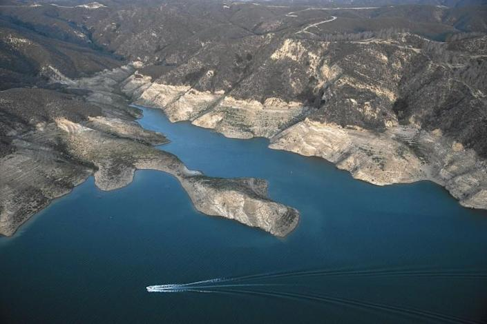 Castaic Lake's depressed level is evident in this aerial photo from June.