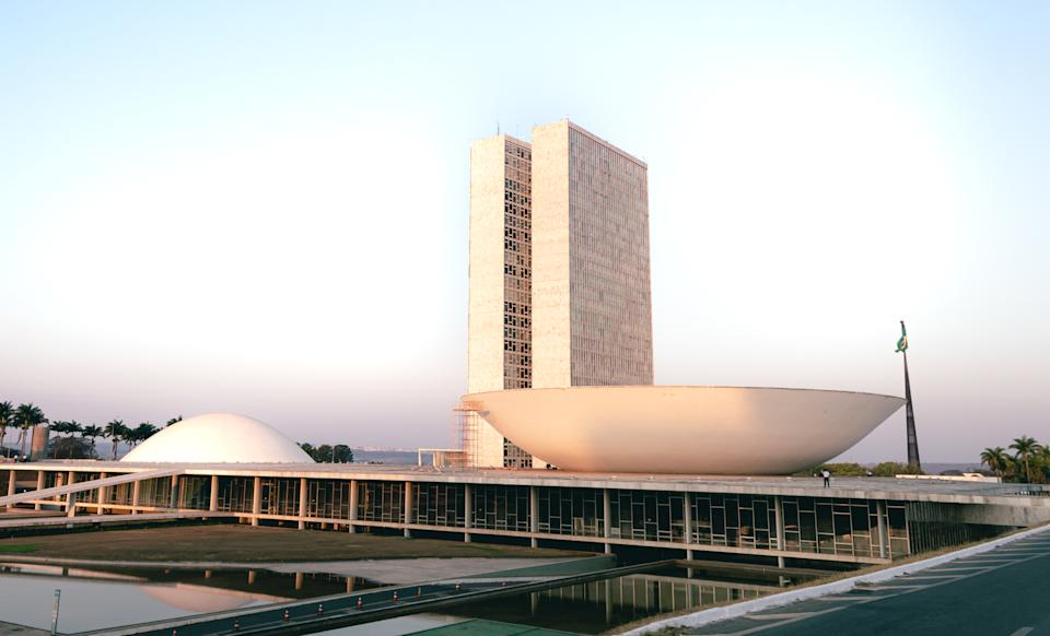 The National Congress of Brazil. Building designed by Oscar niemeyer. It is composed in the Chamber of Deputies and the Federal Senate. Brasilia, Federal District - Brazil. September, 12, 2020.