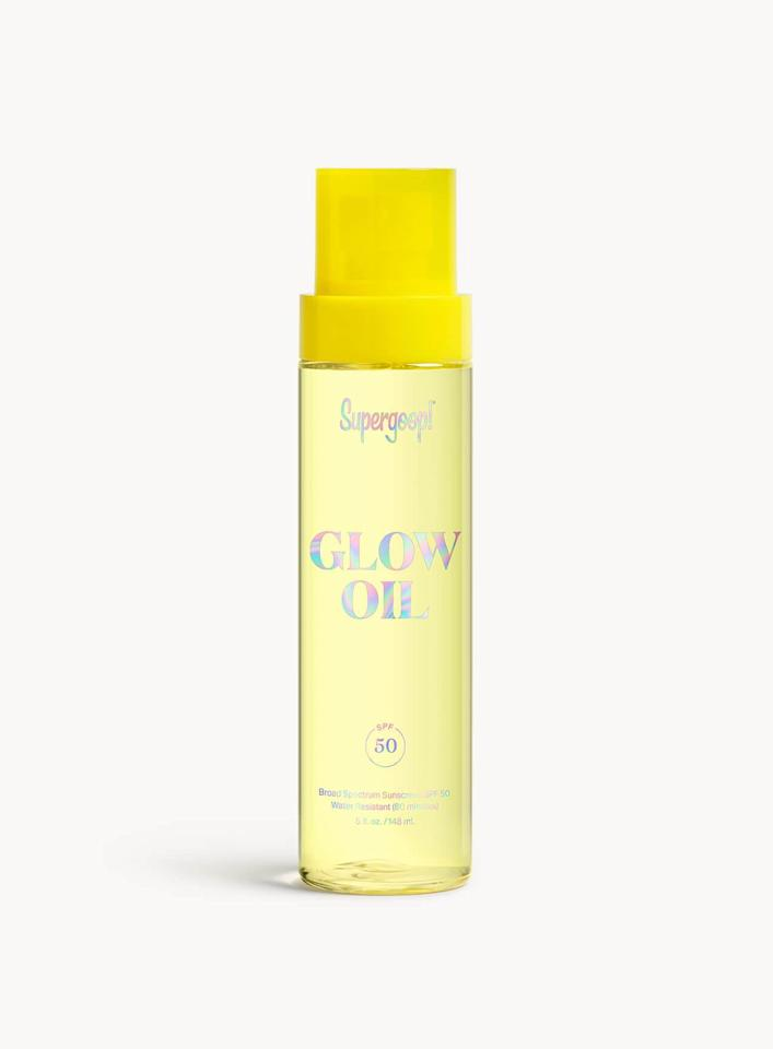 """<p>This <product href=""""https://supergoop.com/products/sun-defying-sunscreen-oil-with-meadowfoam"""" target=""""_blank"""" class=""""ga-track"""" data-ga-category=""""internal click"""" data-ga-label=""""https://supergoop.com/products/sun-defying-sunscreen-oil-with-meadowfoam"""" data-ga-action=""""body text link"""">Glow Oil SPF 50</product> ($38) is water-resistant for 80 minutes, and it's made with an antioxidant-rich formula.</p>"""